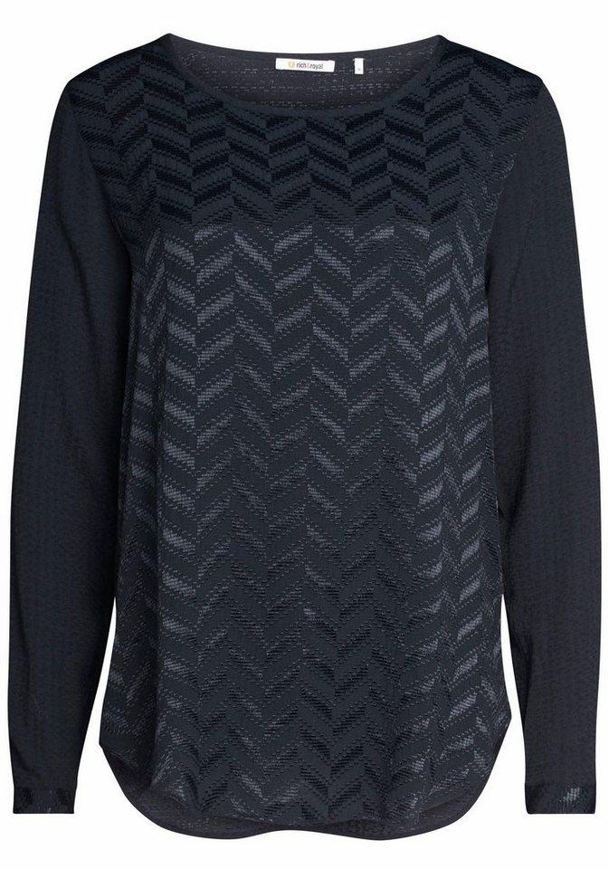 Rich & Royal Shirtbluse mit glänzender Struktur in schwarz