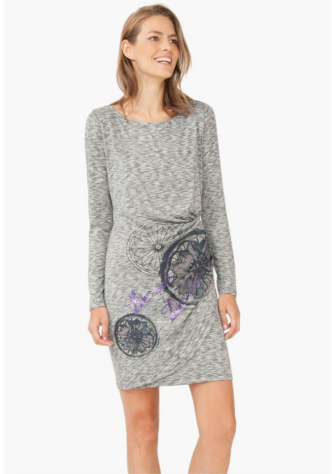 Desigual Shirtkleid »Rita« in melierter Wickeloptik in grau-meliert