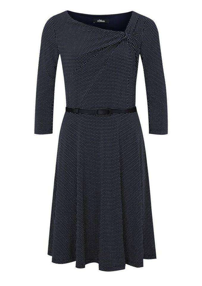 s.Oliver BLACK LABEL Tailliertes Jerseykleid mit Punkten in blue AOP minimal