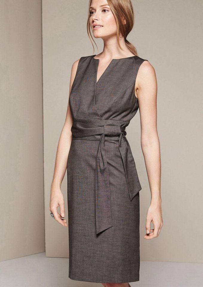 COMMA Edles Businesskleid mit breitem Gürtel in grey/black tweed