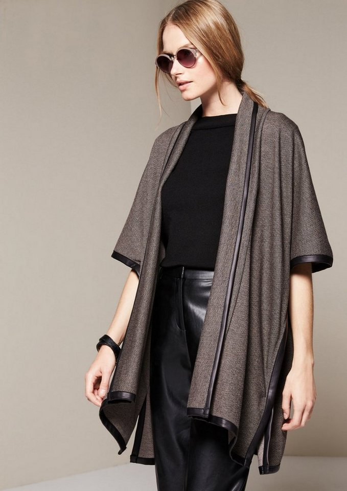 COMMA Raffinierter Poncho im Tweed-Look in black knit