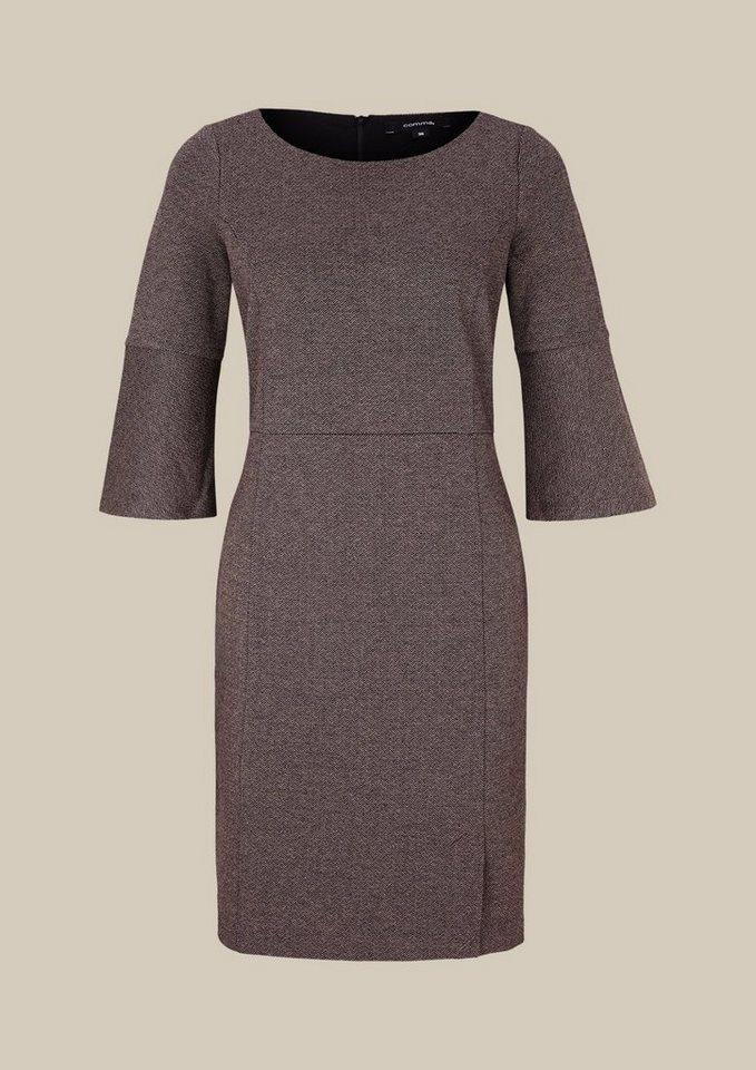 COMMA Elegantes 3/4-Arm Kleid im Tweed-Look in black knit
