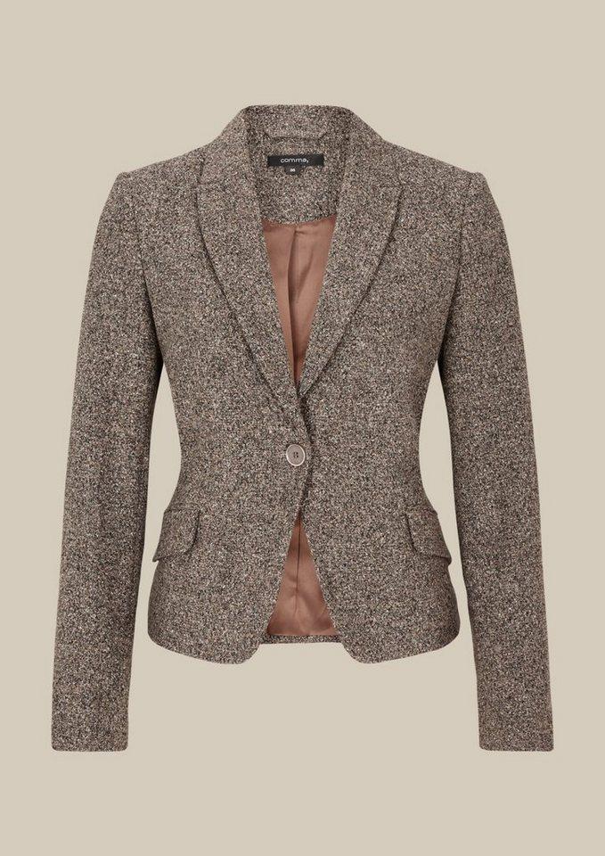 COMMA Edler Blazer in Tweed-Optik in grey/black tweed