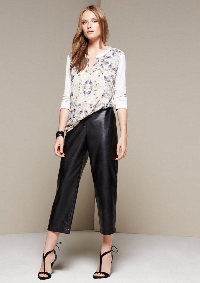 COMMA Raffiniertes 3/4-Arm Shirt im schönen Materialmix in white AOP Butterfly