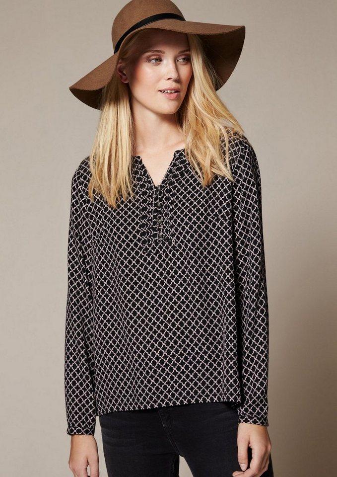 COMMA Elegante Langarmbluse mit liebevoll gestaltetem Muster in black AOP minimal
