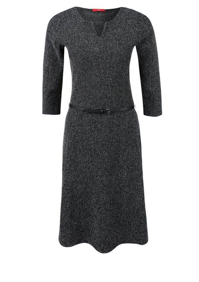 s.Oliver RED LABEL Meliertes Jerseykleid mit Gürtel in graphite grey minima