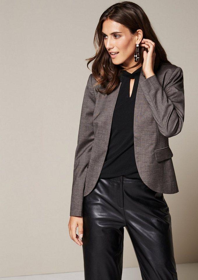 COMMA Klassischer Businessblazer mit raffinierten Details in grey/black tweed