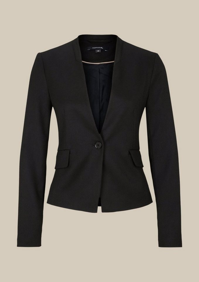 COMMA Eleganter Business-Blazer mit Dobbymuster in black