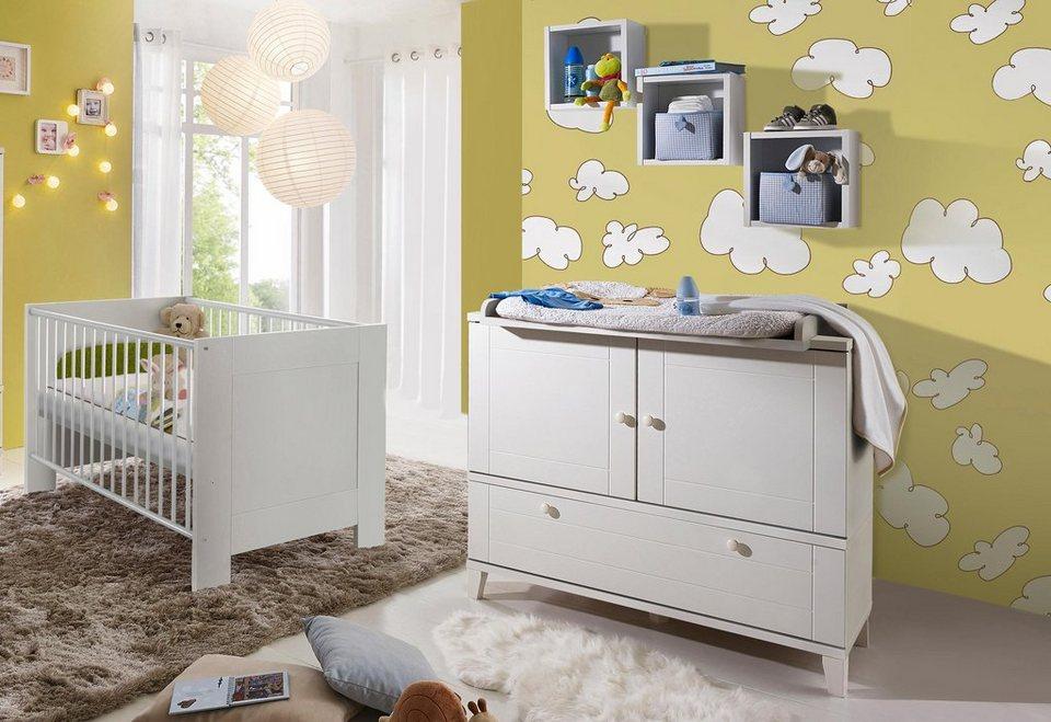 babyzimmer spar set bett und wickelkommode bella in wei matt online kaufen otto. Black Bedroom Furniture Sets. Home Design Ideas