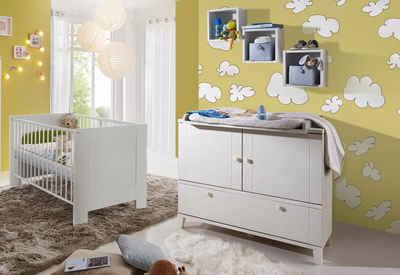 Babyzimmer Spar Set: Bett Und Wickelkommode »Bella«, In Weiß Matt
