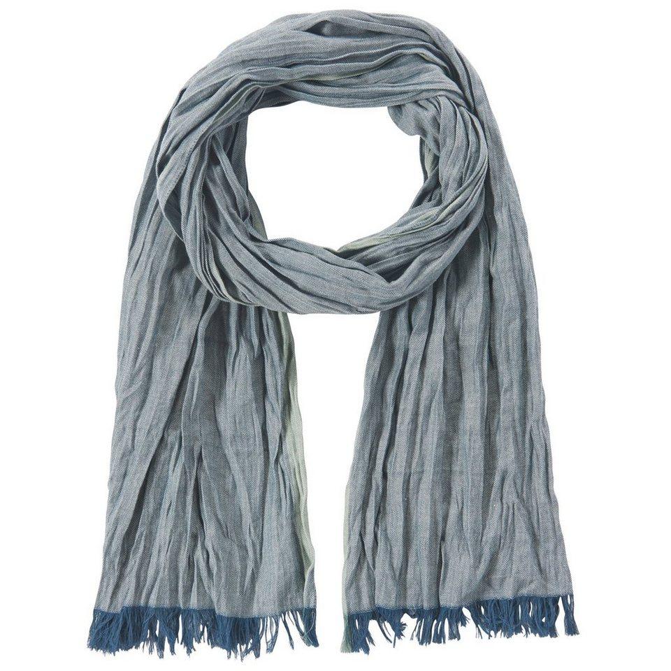 TOM TAILOR Schal »twill scarf with coloured edge« in dark denim blue