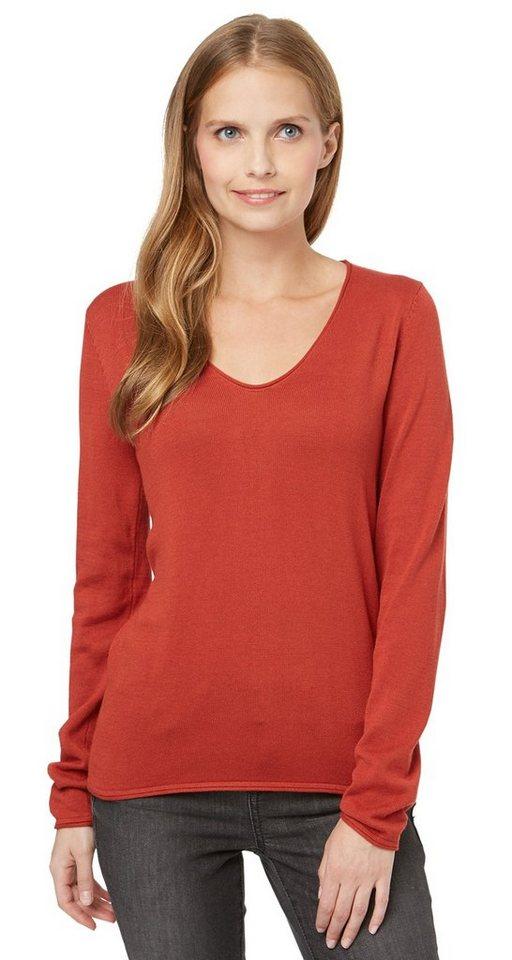 TOM TAILOR Pullover »Basic V-Ausschnitt Pullover« in velvet red