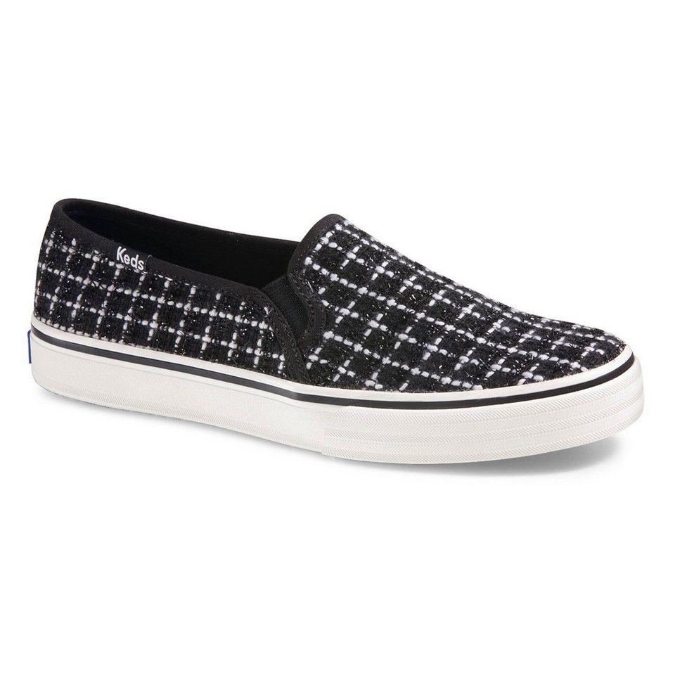 Keds Slip On Sneaker »Double Decker Metallic Boucle« in schwarz