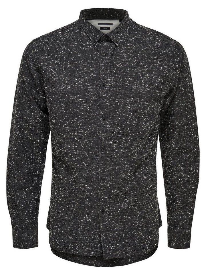 ONLY & SONS Strukturiertes Langarmhemd in Black