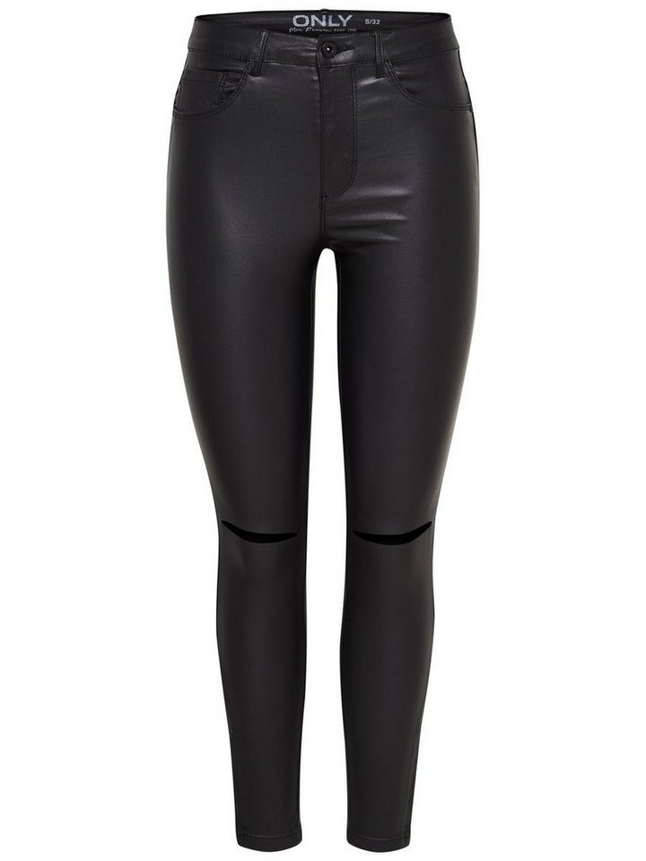 Only Royal high waist rock kneecut Skinny Fit Jeans in Black