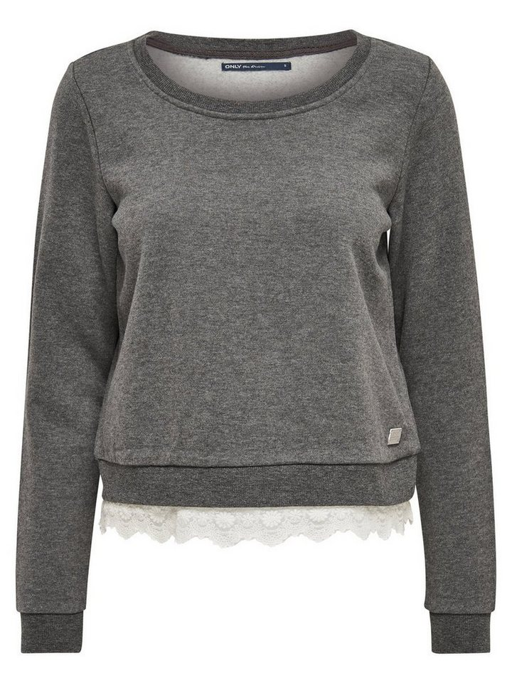 Only Detailliertes Sweatshirt in Dark Grey Melange