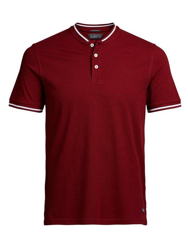 Jack & Jones Henley- Poloshirt in Syrah