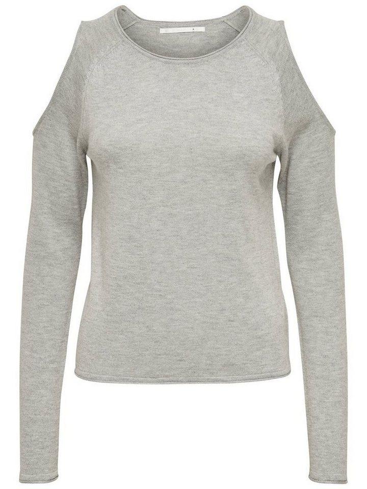 Only Cold-Shoulder- Strickpullover in Medium Grey Melange