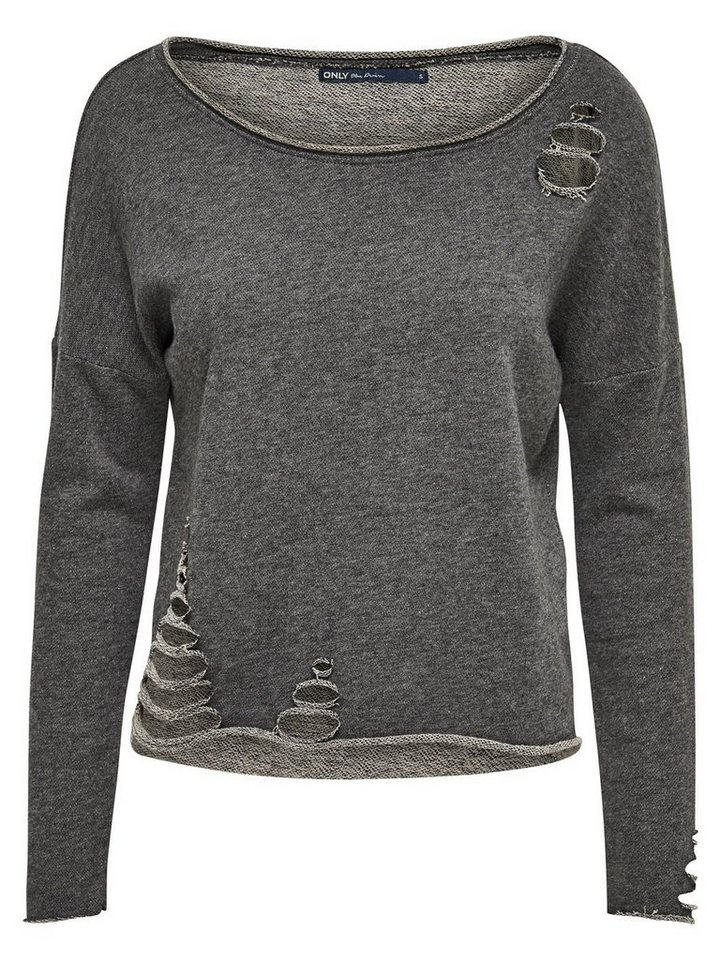 Only Geripptes Sweatshirt in Dark Grey Melange