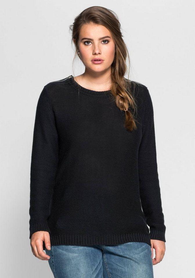 sheego Casual Pullover mit Zippern in schwarz