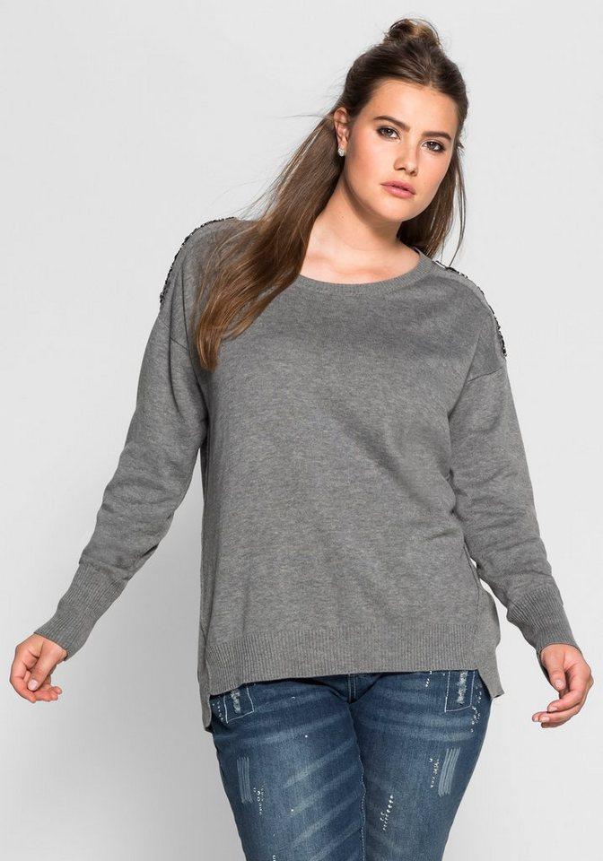 sheego Trend Pullover mit Ziersteinen in grau meliert