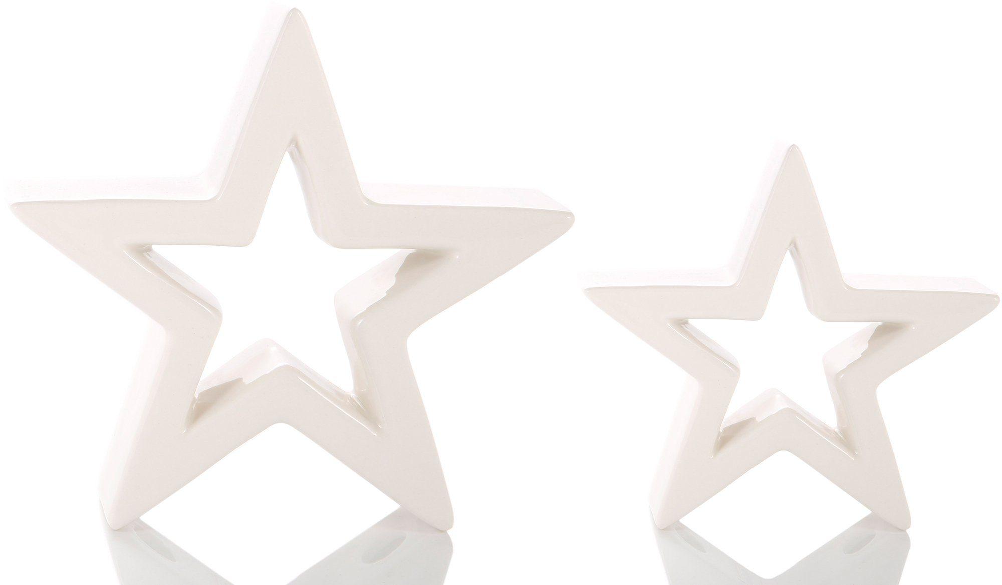 Keramik Stern, 2-teilig
