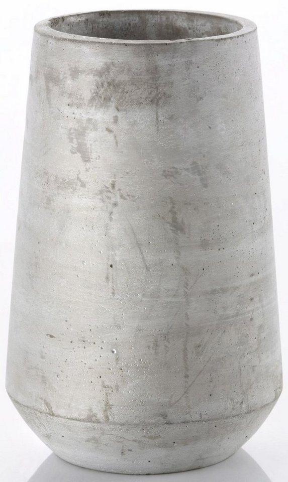 Vase aus Beton in grau