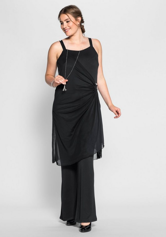 sheego Style Jumpsuit im Lagenlook in schwarz