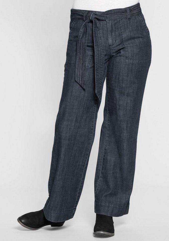 sheego Denim Weite Stretch-Jeans mit Bindegürtel in dark blue Denim