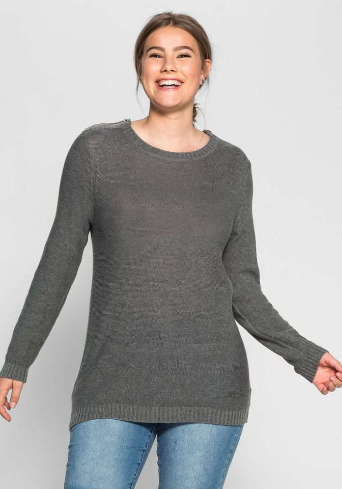 sheego Casual Pullover mit Zippern in anthrazit melange