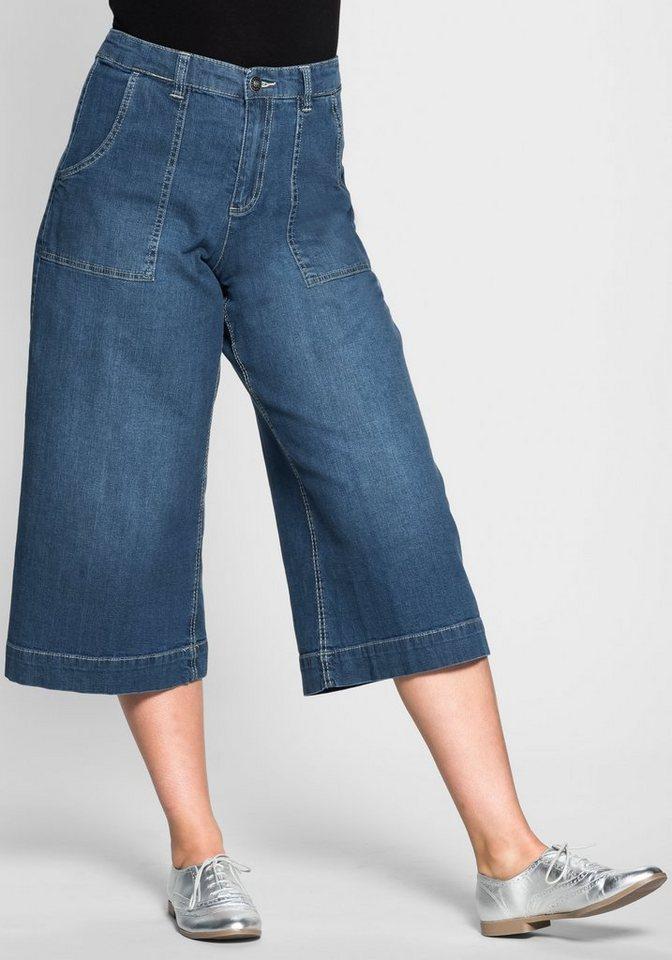 sheego Denim Stretch-Two-Pocket-Jeans Culotte in blue Denim