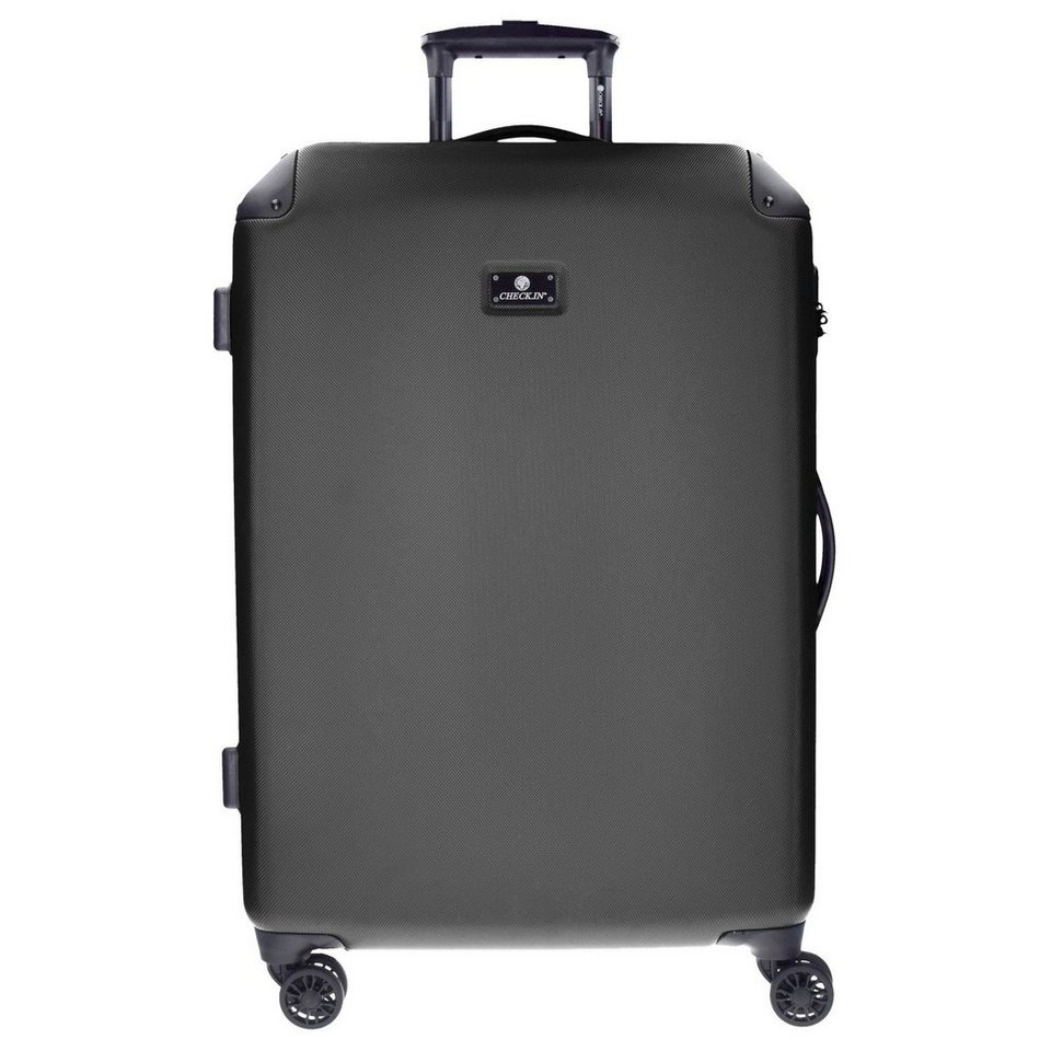 CHECK.IN Manchester 4-Rollen Trolley 80 cm mit Doppelrollen in black