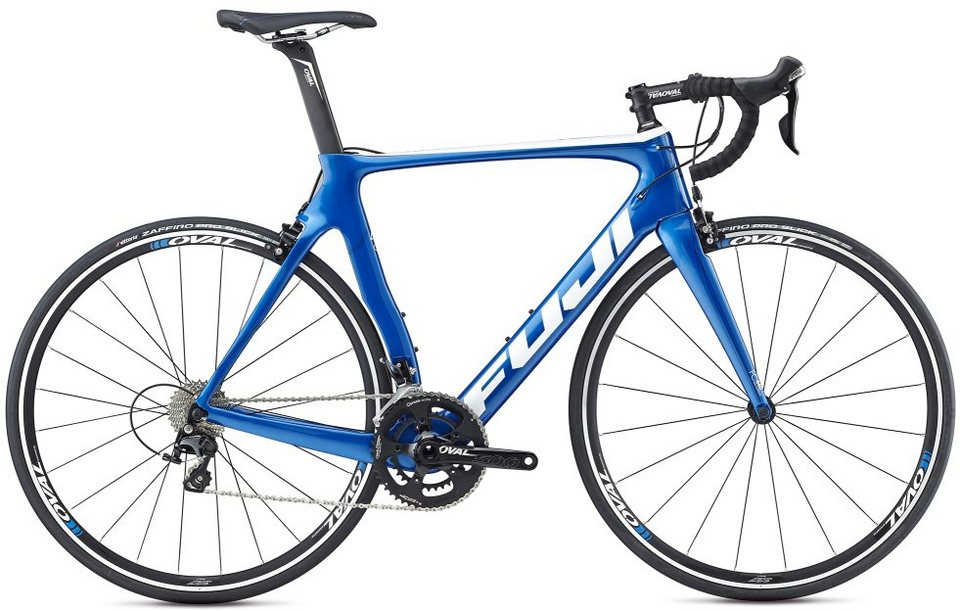Fuji Herren Rennrad, 28 Zoll, 22 Gang Shimano 105 Kettenschaltung, »Transonic 2.7« in Blau-Weiß