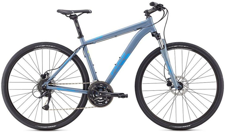 Fuji Herren Crossbike, 28 Zoll, 24 Gang Shimano Acera Kettenschaltung, »Traverse 1.5« in Blaugrau-Cyan