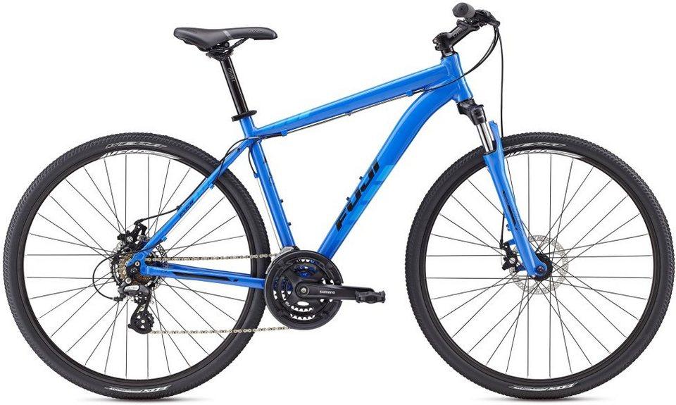 Fuji Herren Crossbike, 28 Zoll, 24 Gang Shimano Altus Kettenschaltung, »Traverse 1.7« in Blau-Cyan