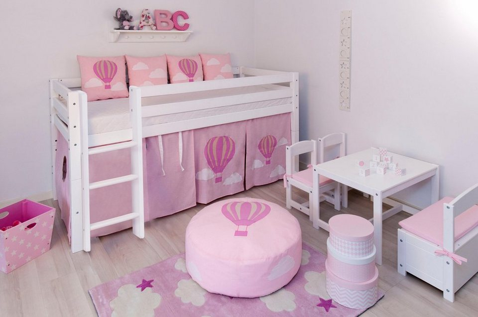 Hoppekids Halbhohes Bett »Ballon« in rosa