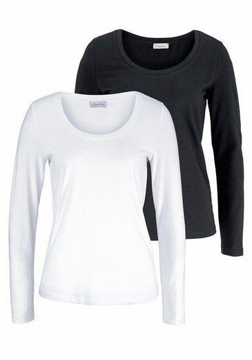 Aniston Langarmshirt (Packung, 2 tlg., 2er-Pack), mit Rundhals-Ausschnitt