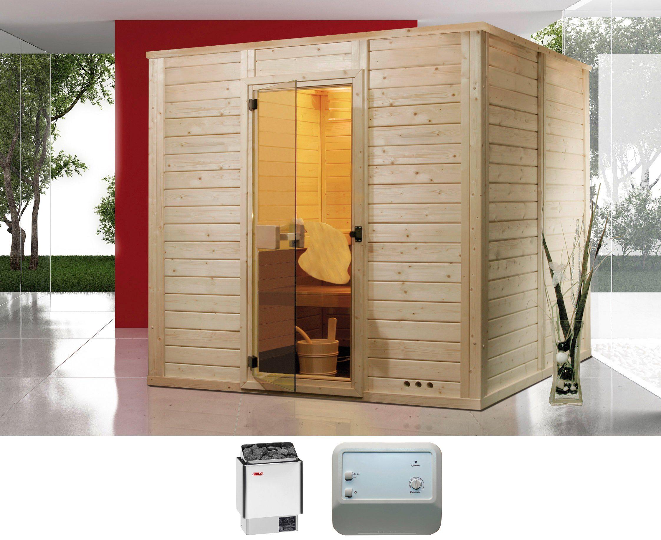 HELO FAMILY Massivholzsauna »Sauna Relax«, 200/200/200 cm, 8-kW-Ofen mit ext. Steuerung