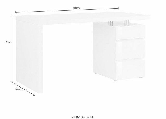 Schreibtische - HMW Schreibtisch »Barna«, mit Container und griffloser Optik  - Onlineshop OTTO