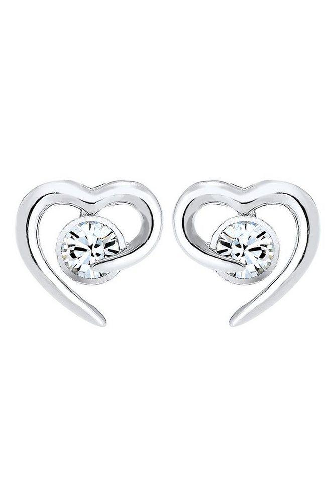 Elli Paar Ohrstecker »Herz, 0306241016« mit Swarovski® Kristall in Silber 925