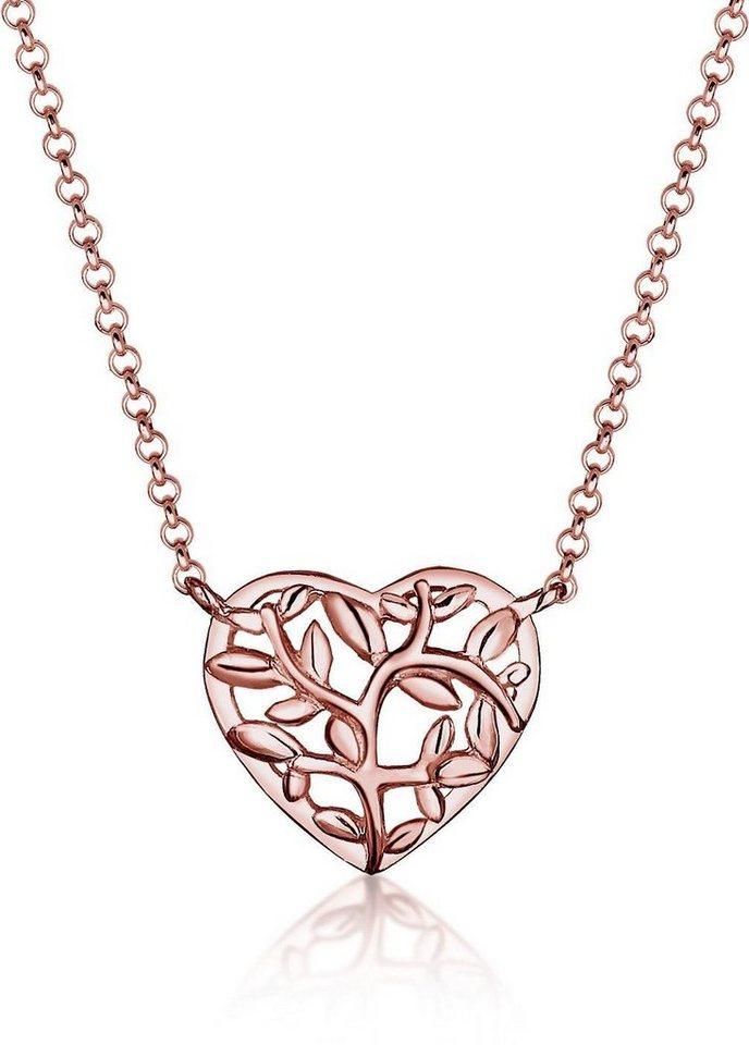 Elli Kette mit Anhänger »Herz Lebensbaum, 0105381016« in roségoldfarben