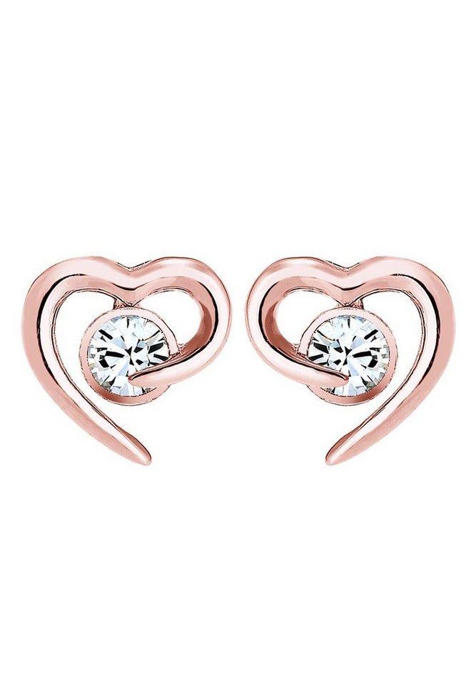 Elli Paar Ohrstecker »Herz, 0306911016« mit Swarovski® Kristall in Silber 925