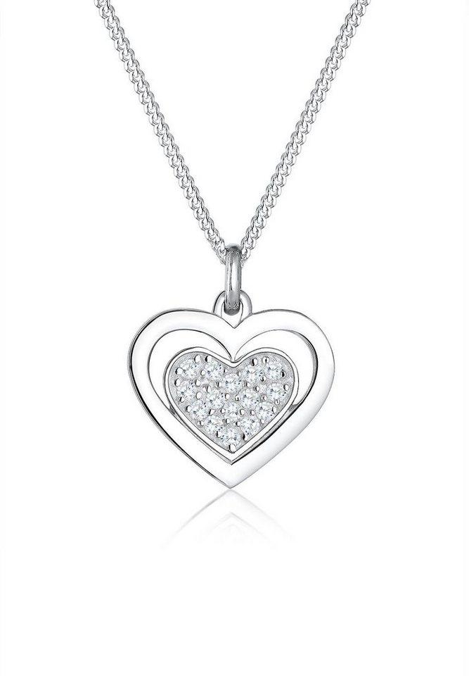 Elli Kette mit Anhänger »Herz, 0104140816« mit Zirkonia in Silber 925