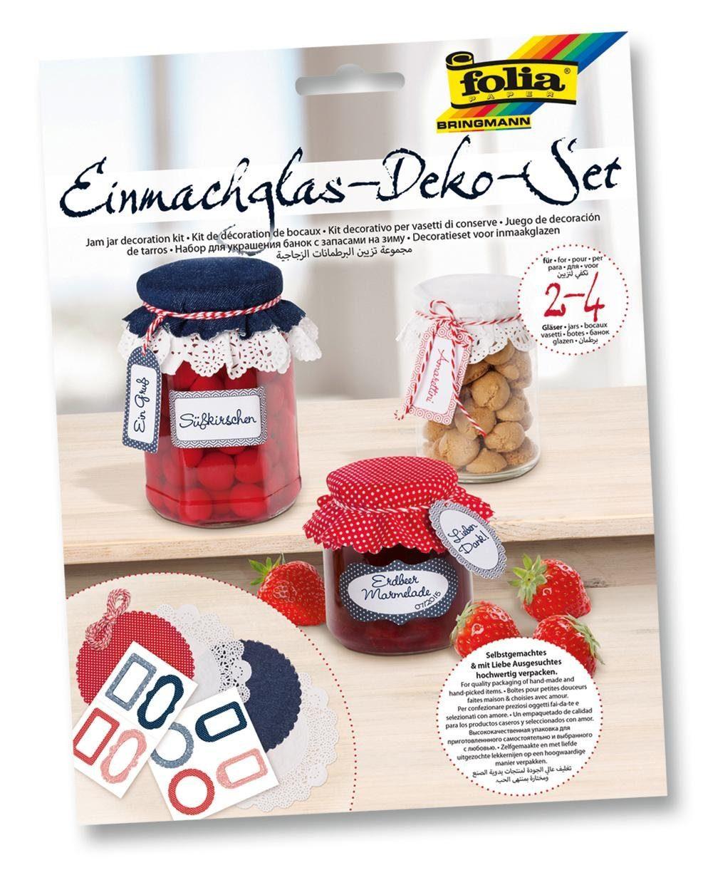 Folia Einmachglas-Deko-Set, dunkelblau/rot