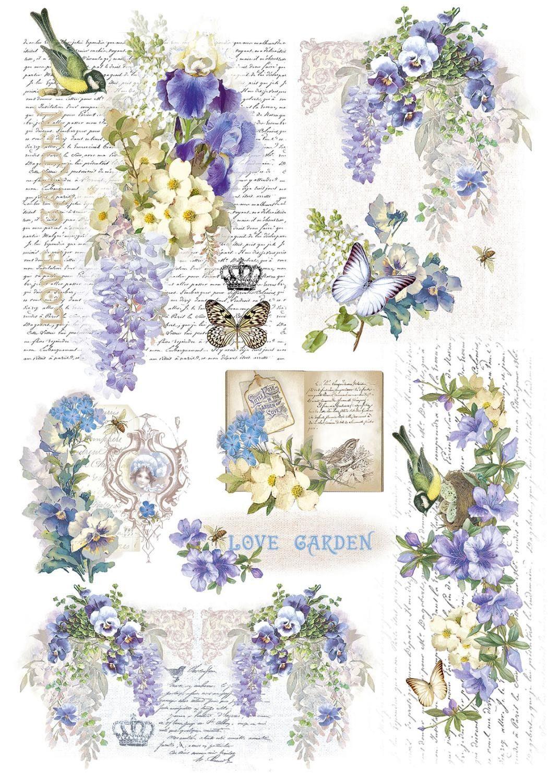 Renkalik Motiv-Strohseide Love Garden