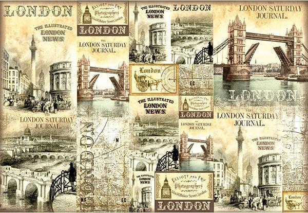 "Stamperia Motiv-Strohseide ""London News"""