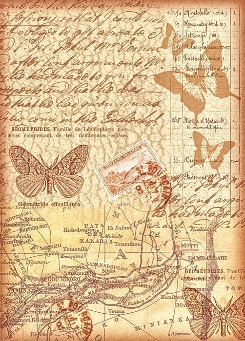 """Stamperia Motiv-Strohseide """"Flying Letters"""""""