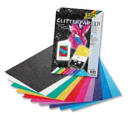 Folia Glitterpapier, 23x33 cm, 10 Blatt farbig sortiert
