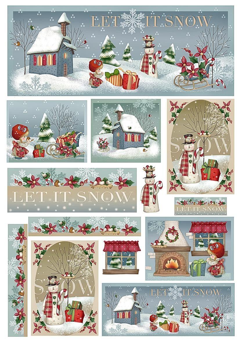 "Renkalik Motiv-Strohseide ""Let it snow"""