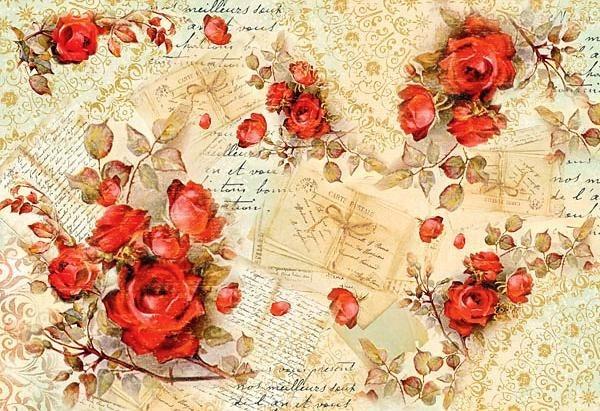 """Stamperia Motiv-Strohseide """"Red Roses"""""""